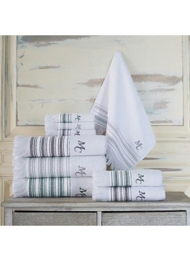 Marie Claire 2 Li Havlu Set-Melvın 30X30 2Li Set Beyaz / Antrasıt 100% Pamuk Beyaz